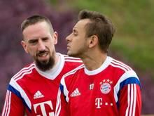 Franck Ribéry (l.)  und Rafinha fallen wohl beim Rückrundenauftakt aus