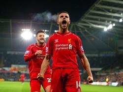 Jordan Henderson schreit nach dem Siegtreffer bei Swansea seine Freude heraus